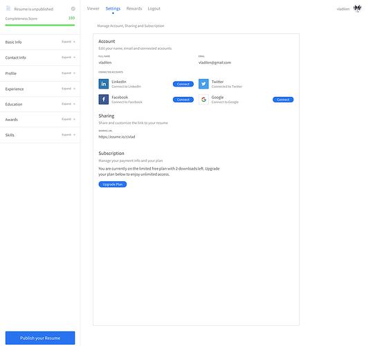 resumeclone-dashboard-settings