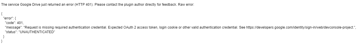 HTTP 401 Error - UNAUTHENTICATED