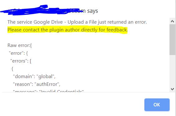 Google Drive Plugin: Upload Error Need Help - Plugins